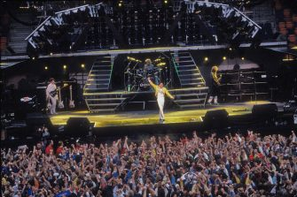 British rock band Queen on stage in Stockholm, Sweden, 7th August 1986. (Photo by Dave Hogan/Getty Images)