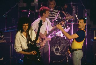 British rock group Queen performing on stage, 1986. Left to right: Brian May, John Deacon, Roger Taylor and Freddie Mercury (1946 - 1991). (Photo by Dave Hogan/Getty Images)