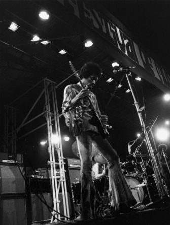 American rock guitarist Jimi Hendrix (1942 - 1970) in concert at the Isle of Wight Festival, his final UK performance.   (Photo by Evening Standard/Getty Images)