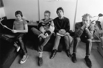 Notorious British punk rock band 'The Sex Pistols' who played together from 1975-78. From left to right: Steve Jones, Johnny Rotten (John Lydon), Glen Matlock and Paul Cook .  Original Publication: People Disc - HL0209   (Photo by Evening Standard/Getty Images)
