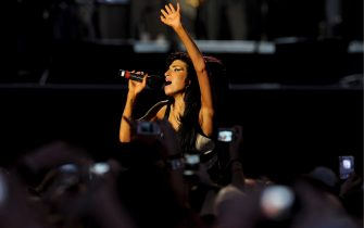 British singer Amy Winehouse performs live at the concert celebrating the 90th birthday of former South-African president and political activist Nelson Mandela held in Central London's Hyde Park, 27 June 2008.ANSA/DANIEL DEME