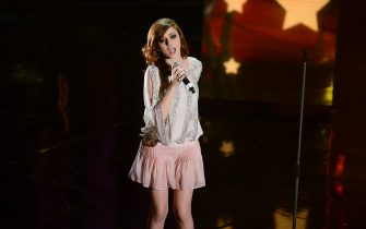 SANREMO, ITALY - FEBRUARY 14:  Annalisa Scarrone attend the third night of the 63rd Sanremo Song Festival at the Ariston Theatre on February 14, 2013 in Sanremo, Italy.  (Photo by Venturelli/WireImage)