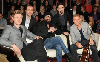 epa03957147 (L-R) Nick Carter, Howie Dorough, AJ McLean, Kevin Richardson and Brian Littrell of the US band Backstreet Boys pose after the recording of the talk show 'Markus Lanz' in Hamburg, Germany, 19 November 2013. The group is currently on tour through Europe with their eight album 'In a World Like This'.  EPA/ANGELIKA WARMUTH