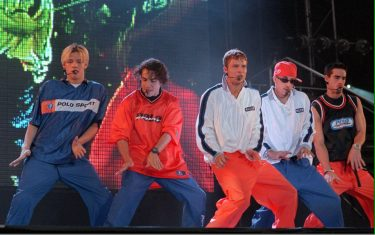 """The American boygroup """"Backstreet Boys"""" performs during a concert in Hannover, 22 August to launch their tour through Germany."""