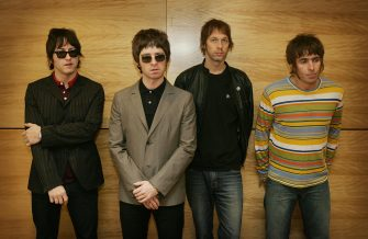"Hong Kong, CHINA:  From L-R Gem, Noel Gallagher, Andy Bell and Liam Gallagher, members of the British rock band ""Oasis"" hold a photocall in Hong Kong 25 February 2006.  The Band are to hold a concert 25 February.      AFP PHOTO/MIKE CLARKE  (Photo credit should read MIKE CLARKE/AFP via Getty Images)"