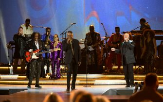 """LOS ANGELES, CALIFORNIA - JANUARY 28: (L-R) Verdine White, Philip Bailey and Ralph Johnson of Earth Wind and Fire performs onstage during the 62nd Annual GRAMMY Awards  """"Let's Go Crazy"""" The GRAMMY Salute To Prince on January 28, 2020 in Los Angeles, California. (Photo by Kevin Winter/Getty Images for The Recording Academy)"""