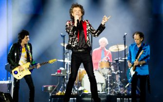 MIAMI, FLORIDA - AUGUST 30: (L-R) Ronnie Wood, Mick Jagger, Charlie Watts and Keith Richards of The Rolling Stones perform onstage at Hard Rock Stadium on August 30, 2019 in Miami, Florida. (Photo by Rich Fury/Getty Images)