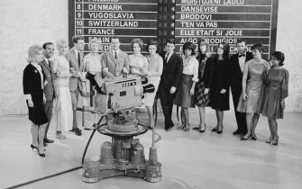 1963:  The contestants of the 1963 Eurovision Song Contest. From left to right, they are Heidi Bruhl of Germany, Jose Guardiola of Spain, Monica Zetterlund of Sweden, Jacques Raymond of Belgium, Annie Palmen of the Netherlands, Emilio Pericoli of Italy, Anita Thalloug of Norway, Laila Halme of Finland, Alain Barriere of France, Carmela Corren of Austria, Francoise Hardy of Monaco, Nana Mouskouri of Luxembourg, G & J Ingmann of Denmark and Ester Ofarini of Switzerland.  (Photo by Express/Express/Getty Images)