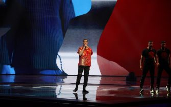 18 May 2019, Israel, Tel Aviv: Mahmood from Italy performs in the final of the Eurovision Song Contest (ESC) 2019. Photo: Ilia Yefimovich/dpa