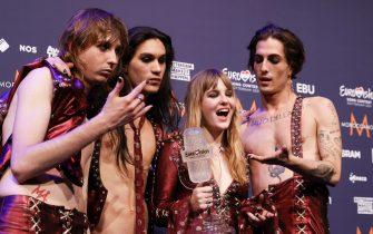 Members of the band Maneskin from Italy pose for photographs after winning the Grand Final of the 65th annual Eurovision Song Contest (ESC) at the Rotterdam Ahoy arena, in Rotterdam, The Netherlands, 22 May 2021. Due to the coronavirus (COVID-19) pandemic, only a limited number of visitors is allowed at the 65th edition of the Eurovision Song Contest (ESC2021) that is taking place in an adapted form at the Rotterdam Ahoy. ANSAROBIN VAN LONKHUIJSEN