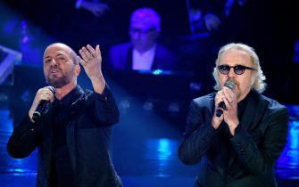 Italian singers Raf (L) and Umberto Tozzi (R) perform on stage at the Ariston theatre during the 69th Sanremo Italian Song Festival, Sanremo, Italy, 07 February 2019. The Festival runs from 05 to 09 February. ANSA/ETTORE FERRARI