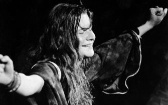Circa 1967, American singer Janis Joplin (1943 - 1970) closes her eyes and outstretches her arms during a performance, late 1960s. (Photo by Getty Images/Getty Images)