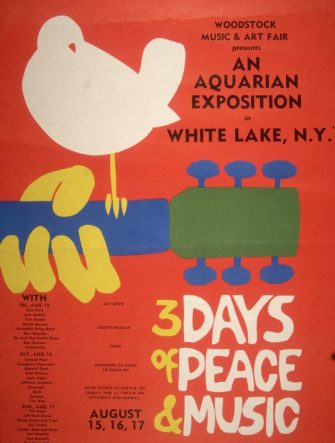 1969:  Promotional poster for the 1969 Woodstock Music and Arts Fair in Bethel, New York. A white dove sits on a guitar handle above the tagline, '3 DAYS of PEACE & MUSIC.' A schedule with the names of the performers, including Joan Baez, Grateful Dead, Janis Joplin, Jefferson Airplane and Jimi Hendrix appears on the bottom left hand side. (Photo by Blank Archives/Getty Images)