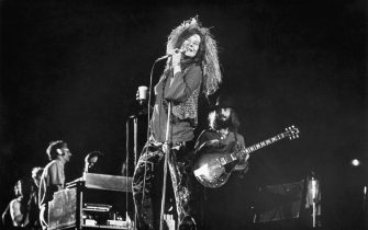 Janis Joplin and her final group, the Full Tilt Boogie Band, perform at the Festival for Peace at Shea Stadium.