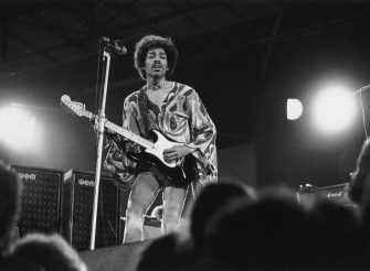 August 1970:  Jimi Hendrix, psychedelic guitarist (1942 - 1970) on stage.  (Photo by Doug McKenzie/Getty Images)