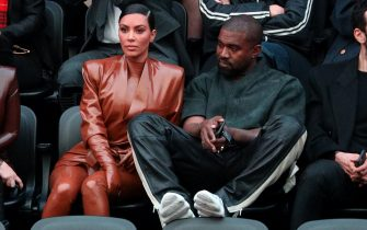 PARIS, FRANCE - MARCH 01: (EDITORIAL USE ONLY) Kim Kardashian and Kanye West attend the Balenciaga show as part of the Paris Fashion Week Womenswear Fall/Winter 2020/2021 on March 01, 2020 in Paris, France. (Photo by Pierre Suu/Getty Images)