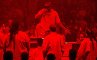 CHICAGO, ILLINOIS - FEBRUARY 16: Kanye West Presents Sunday Service at Credit Union 1 Arena on February 16, 2020 in Chicago, Illinois. (Photo by Kevin Mazur/Getty Images for KW)