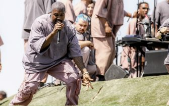 INDIO, CALIFORNIA - APRIL 21: Kanye West performs Sunday Service during the 2019 Coachella Valley Music And Arts Festival on April 21, 2019 in Indio, California. (Photo by Rich Fury/Getty Images for Coachella)