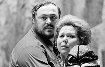 Luciano Pavarotti and Renata Scotto rehearsing Il Trovatore at the Metropolitan Opera House in New York, October 9, 1976. (Photo by Jack Mitchell/Getty Images)