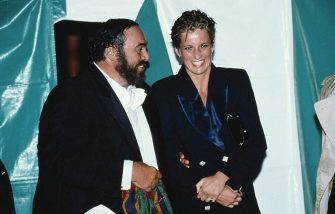 Princess Diana, with wet hair, talking to Italian tenor Luciano Pavarotti at a concert in Hyde Park, London, 30th July 1991. (Photo by Princess Diana Archive/Getty Images)