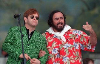 MODENA, ITALY - SEPTEMBER 06:  The picture shows opera singer Luciano Pavarotti (R) with Sir Elton John during the 1996 Pavarotti & Friends charity concert, in Modena, Italy. The Opera Star Luciano Pavarotti has died at the age of 71 at his home in Modena, Italy at 5am local time on September 6, 2007.  He was diagnosed with pancreatic cancer last year.  (Photo by Daniele Venturelli/WireImage)