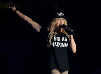 INDIO, CA - APRIL 12:  Recording artist Madonna performs onstage with Drake during day 3 of the 2015 Coachella Valley Music & Arts Festival (Weekend 1) at the Empire Polo Club on April 12, 2015 in Indio, California.  (Photo by Christopher Polk/Getty Images for Coachella)