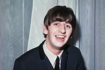 (Original Caption) PLA... CLOSEUP OF RINGO STARR OF THE BEATLES MADE IN LONDON, 1963. Filed: Dec. 18, 1964.