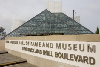 CLEVELAND, OH - SEPTEMBER 25:  The Rock and Roll Hall of Fame Museum building, designed by architect by I. M. Pei, is seen in this 2009 Cleveland, Ohio, early morning city landscape photo. (Photo by George Rose/Getty Images)