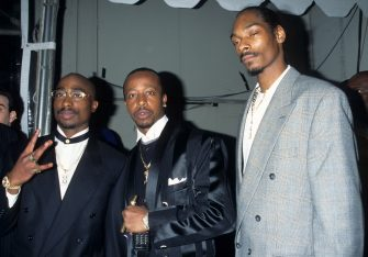 Snoop Dogg, MC Hammer and Tupac Shakur (Photo by Kevin Mazur Archive/WireImage)