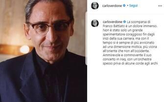 Carlo Verdone posta unr ricordo di Franco Battiato poco dopo la sua morte