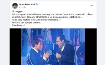 Il post Facebook di Gianni Morandi dedicato a Franco Battiato