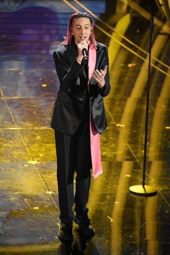 SANREMO, ITALY - FEBRUARY 07:  Ghali attends the 70° Festival di Sanremo (Sanremo Music Festival) at Teatro Ariston on February 07, 2020 in Sanremo, Italy. (Photo by Daniele Venturelli/Daniele Venturelli/Getty Images )