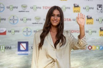 GIFFONI VALLE PIANA, ITALY - AUGUST 29: Gaia Gozzi aka Gaia poses at the photocall at the 50th edition of the Giffoni Film Festival on August 29, 2020 in Giffoni Valle Piana, Italy. (Photo by Ivan Romano/Getty Images)
