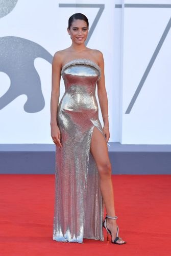 """VENICE, ITALY - SEPTEMBER 02: Elodie walks the red carpet ahead of the Opening Ceremony and the """"Lacci"""" red carpet during the 77th Venice Film Festival at  on September 02, 2020 in Venice, Italy. (Photo by Dominique Charriau/WireImage)"""