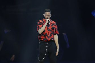 TEL AVIV, ISRAEL - MAY 17: Mahmood, from Italy, performs live on stage during the 64th annual Eurovision Song Contest held at Tel Aviv Fairgrounds on May 17, 2019 in Tel Aviv, Israel. (Photo by Michael Campanella/Getty Images)