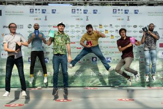 GIFFONI VALLE PIANA, ITALY - AUGUST 21: The Italian musical group Pinguini Tattici Nucleari posing at the photocall of the 50th edition of the Giffoni Film Festival on August 21, 2020 in Giffoni Valle Piana, Italy. (Photo by Ivan Romano/Getty Images)