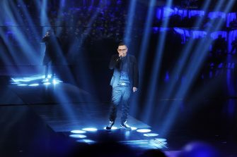 MILAN, ITALY - MARCH 02:  Singer Rocco Hunt performs at 'Che Tempo Che Fa' TV Show  on March 2, 2014 in Milan, Italy.  (Photo by Stefania D'Alessandro/Getty Images)