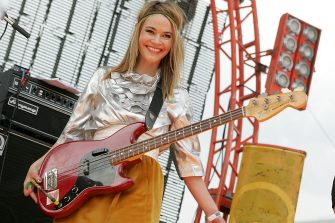 HOUSTON - JUNE 06:  Musician/actress Leisha Hailey performs in concert with Uh Huh Her during the Free Press Summerfest at Eleanor Tinsley Park on June 6, 2010 in Houston, Texas.  (Photo by Gary Miller/WireImage)