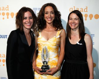 LOS ANGELES, CA - APRIL 18:  Actresses Katherine Moennig, Jennifer Beals and Leisha Hailey backstage at the 20th Annual GLAAD Media Awards held at NOKIA Theatre LA LIVE on April 18, 2009 in Los Angeles, California.  (Photo by Jeff Vespa/WireImage)