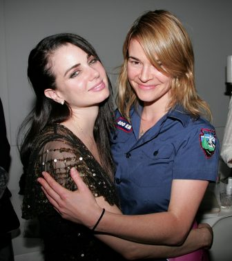 """LOS ANGELES, CA - OCTOBER 14:  Actress/author Mia Kirshner (L) and actress Leisha Hailey attend Pantheon's book party for """"I Live Here"""" at The Motley Bird Nest on October 14, 2008 in Los Angeles, California.  (Photo by David Livingston/Getty Images)"""