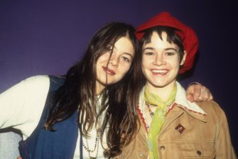 Heather Grody (left) and Leisha Hailey (right) of alternative rock group The Murmurs smile while at Club USA in New York, 1993. (Photo by Steve Eichner/Getty Images)