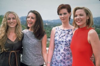 1999:  Cast members of the television series Sex and the City  (L-R): Sarah Jessica Parker, Kristin Davis, Cynthia Nixon and Kim Cattrall, Beverly Hills, California.  (Photo by Munawar Hosain/Fotos International/Getty Images)