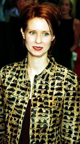 "369474 04: Actress Cynthia Nixon attends the premiere of ""Small Time Crooks"", May 16,2000 at the Beekman Theatre in New York. (Photo by George De Sota/Newsmakers)"