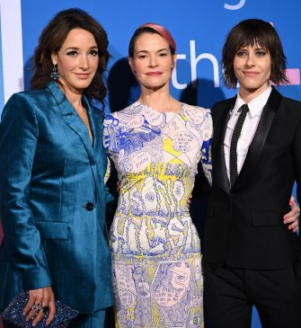 """Actresses Jennifer Beals (L), Leisha Hailey (C) and Kate Moennig attend the red carpet premiere for Showtime's new drama series """"The L Word: Generation Q,"""" on December 2, 2019 at the Regal Cinemas at L.A. LIVE in Los Angeles, California. (Photo by Robyn Beck / AFP) (Photo by ROBYN BECK/AFP via Getty Images)"""