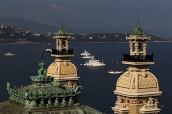 MONACO - JUNE 30:  Yachts pictured in the Harbour near the Monte Carlo Casino during preparations ahead of the Royal Wedding of Prince Albert II of Monaco to Charlene Wittstock on June 30, 2011 in Monaco. The civil ceremony will take place in the Throne Room of the Prince's Palace of Monaco on July 1, followed by a religious ceremony to be conducted in the main courtyard of the Palace on July 2. With her marriage to the head of state of Principality of Monaco, Charlene Wittstock will become Princess consort of Monaco and gain the title, Princess Charlene of Monaco. Celebrations including concerts and firework displays are being held across several days, attended by a guest list of global celebrities and heads of state.  (Photo by Dean Mouhtaropoulos/Getty Images)