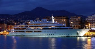 This pictre taken on on March 15, 2013 shows the Katara, a 124 meters superyacht, property of the emir of Qatar, docked in Nice's harbour, southeastern France.  AFP PHOTO / VALERY HACHE        (Photo credit should read VALERY HACHE/AFP via Getty Images)