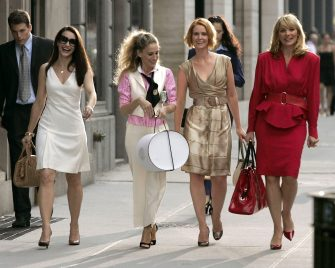 """NEW YORK - SEPTEMBER 21:  Actresses Kristin Davis as """"Charlotte,"""" Sarah Jessica Parker as """"Carrie Bradshaw,"""" Cynthia Nixon as """"Miranda,"""" and Kim Cattrall as """"Samantha"""" on location for """"Sex and the City: The Movie"""" on September 21, 2007, in New York City.  (Photo by Brian Ach/WireImage)"""
