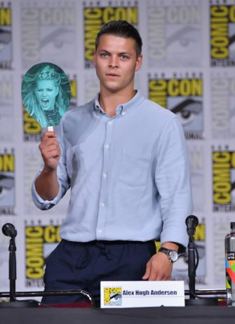 """SAN DIEGO, CA - JULY 20:  Alex Hogh Andersen speaks onstage at History's """"Vikings"""" panel during Comic-Con International 2018 at San Diego Convention Center on July 20, 2018 in San Diego, California.  (Photo by Mike Coppola/Getty Images)"""