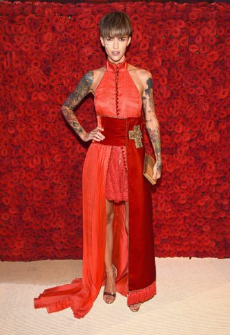 NEW YORK, NY - MAY 07: Ruby Rose attends the Heavenly Bodies: Fashion & The Catholic Imagination Costume Institute Gala at The Metropolitan Museum of Art on May 7, 2018 in New York City.  (Photo by Dimitrios Kambouris/MG18/Getty Images for The Met Museum/Vogue)