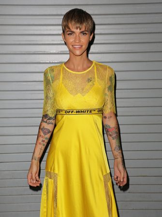 """MIAMI, FL - AUGUST 10:  Ruby Rose is seen on the set of """"Despierta America"""" at Univision Studios to promote the film """"The MEG"""" on August 10, 2018 in Miami, Florida.  (Photo by Alexander Tamargo/Getty Images)"""